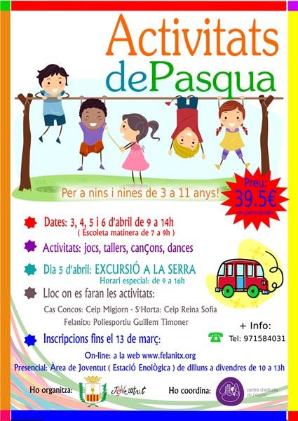 Activitats de Pasqua per a nins i nines de 3 a 11 anys, de Felanitx, S'Horta i Cas Concos.