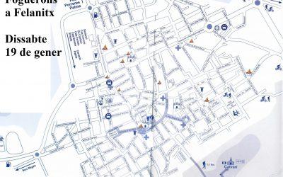 Mapa dels foguerons de Sant Antoni a Felanitx