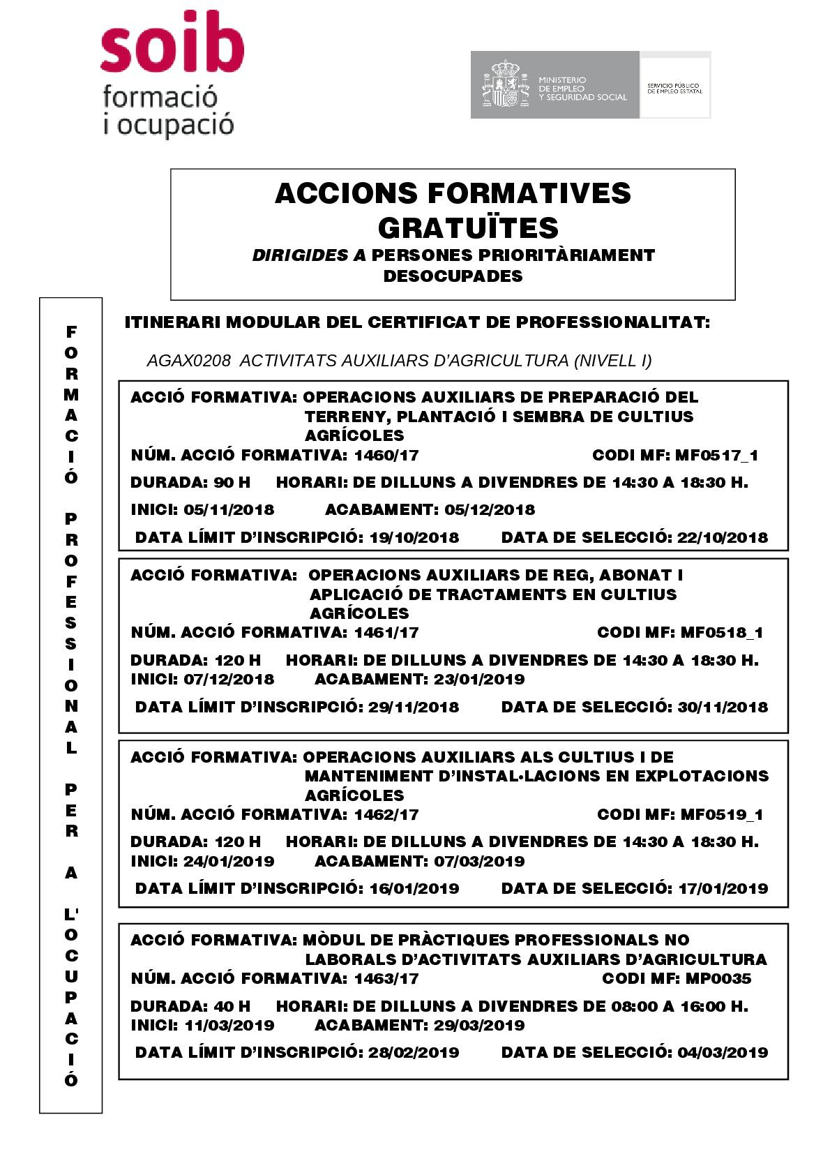 ACTIVITATS AUXILIARS D'AGRICULTURA  (NIVEL I) -agax0208