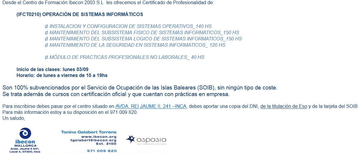 Certificado de profesionalidad de nivel II - (IFCT0210) OPERACIÓN DE SISTEMAS INFORMÁTICOS