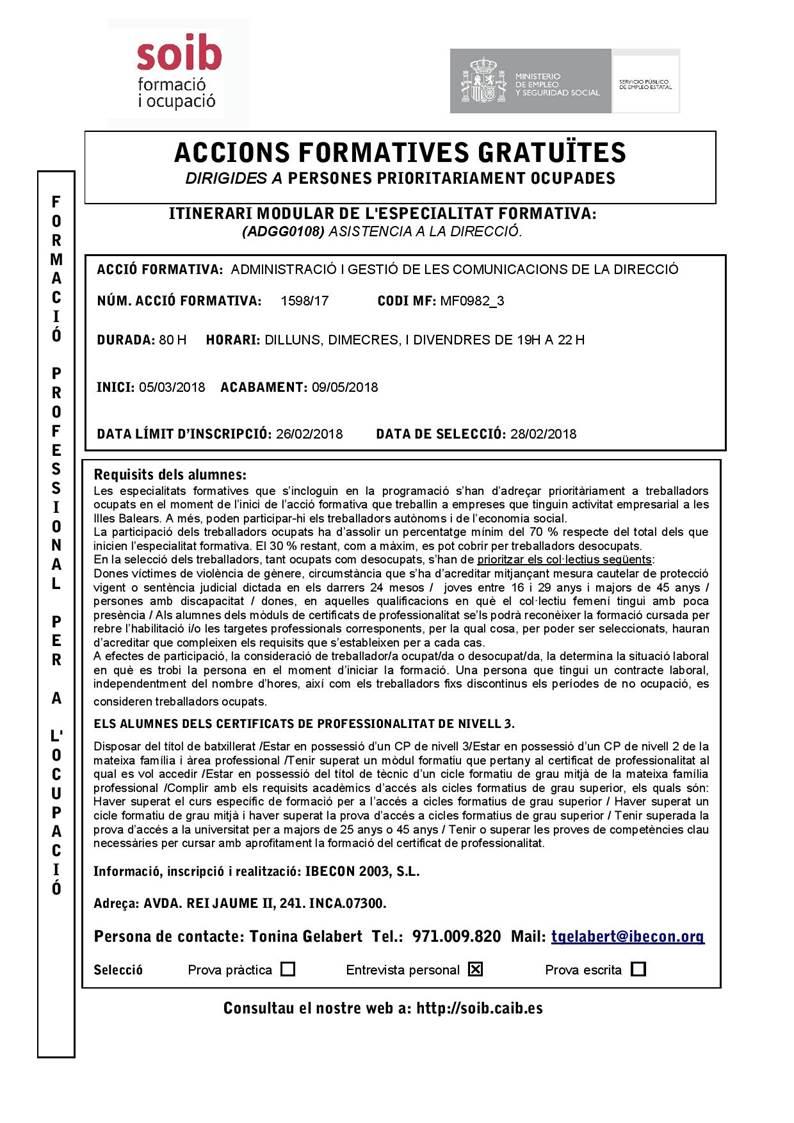 ADMINISTRACIÓ I GESTIÓ DE LES COMUNICACIONS DE LA DIRECCIÓ (INCA)