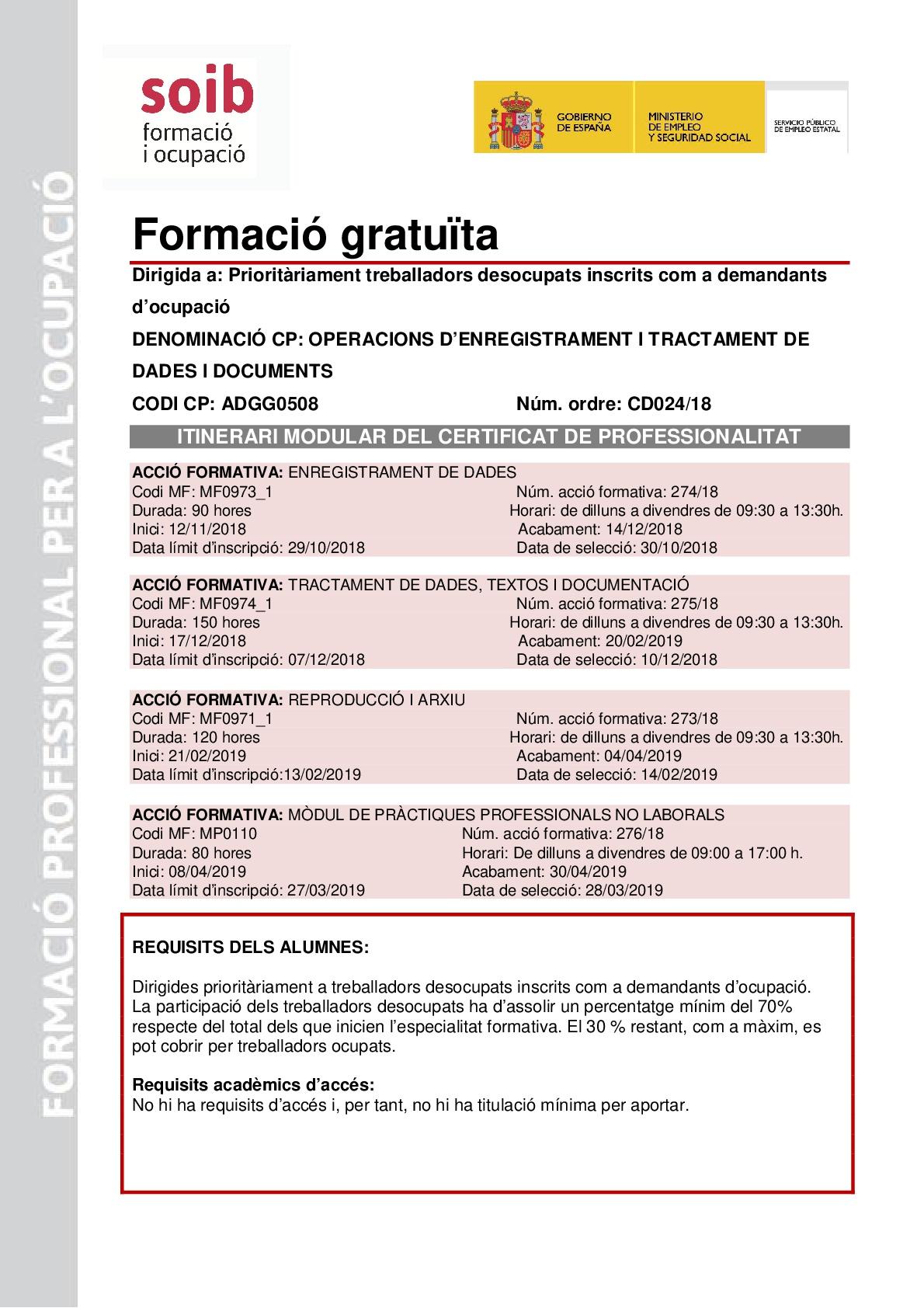 OPERACIONS D' ENREGISTRAMENT I TRACTAMENT DE DADES I DOCUMENTS- ADGG0508