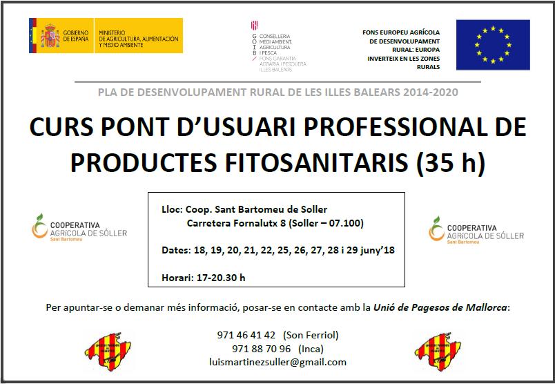 CURS PONT D'USUARIS PROFESSIONAL DE PRODUCTES FITOSANITARIS