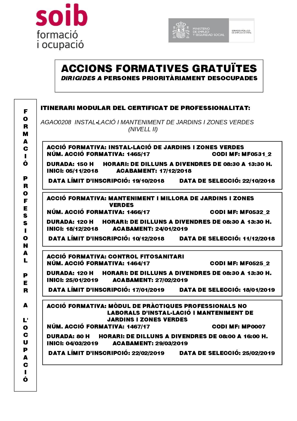 INSTAL•LACIÓ I MANTENIMENT DE JARDINS I ZONES VERDES  (NIVELL II)-AGAO0208